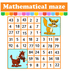 mathematical rectangle mazecat and dog game vector image