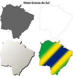 Mato Grosso do Sul blank outline map set vector