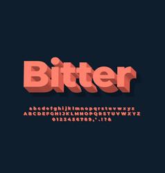 Modern alphabet 3d soft orange text effect vector
