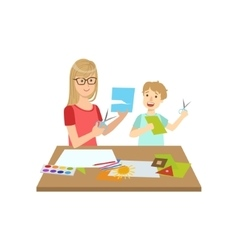 Mother and child doing applique together vector