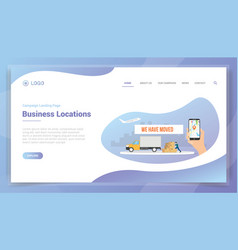 Moved business location concept for website vector