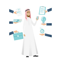 muslim businessman having lots of work to do vector image
