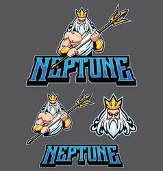neptune poseidon mascot vector image