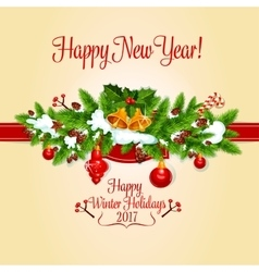 New Year holiday card with xmas tree holly berry vector image