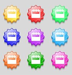 Notepad calendar icon sign symbol on nine wavy vector image