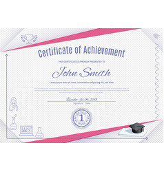 official white certificate with pink triangles and vector image