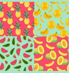 Pattern with fruits banana pineapple melon and vector