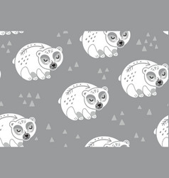 Polar bears seamless pattern in white and gray vector