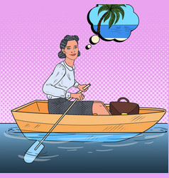 pop art business woman floating on a boat vector image
