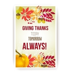 Quote - Giving thanks today tomorrow vector