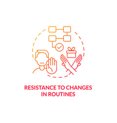 Resistance to changes in routines concept icon vector