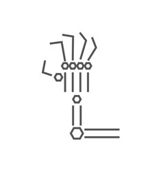 Robotic arm line icon on white background vector