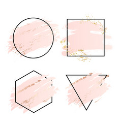 rose and pink background stroke frame gold vector image
