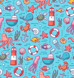 Sea doodles color pattern vector