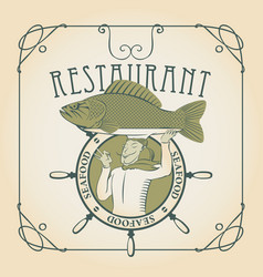 Seafood menu with the chef with fish on his head vector