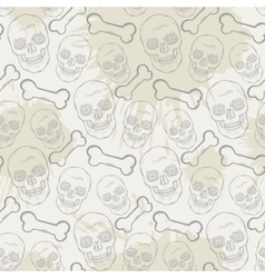 Seamless skull pattern with bone and blots vector image