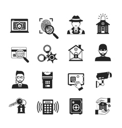 Security Icons Black Set vector image