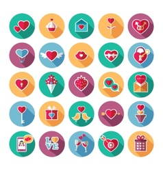 set flat valentines day icons vector image