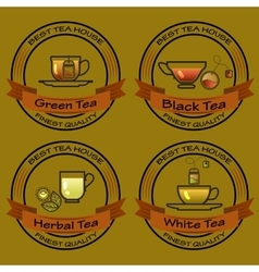 set of Tea shop logos logotype design vector image