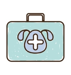 Silhouette with briefcase first aid vet color vector