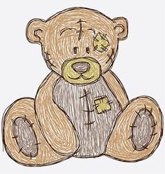 Sketch cute bear vector