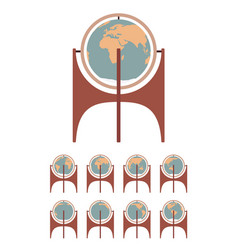 standing floor retro globe and set spin in vector image
