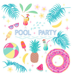 Summer design elements for pool party vector