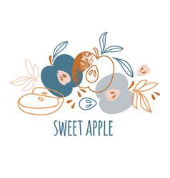 Sweet apple delightful fruit hand drawn vector