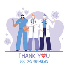 thank you doctors and nurses team group physician vector image