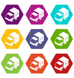 truck delivery icons set 9 vector image