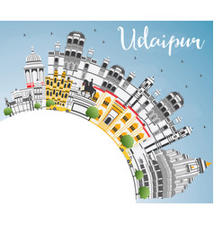 Udaipur india city skyline with color buildings vector