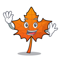 Waving red maple leaf character cartoon vector