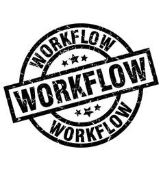 Workflow round grunge black stamp vector