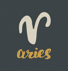 Zodiac sign aries and lettering hand drawn vector