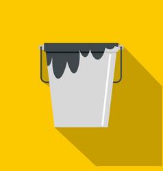 bitumen emulsion in grey bucket icon flat style vector image