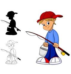 kid fishing vector image