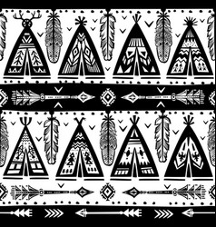 seamless with wigwams arrows and feathers vector image vector image