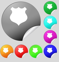 shield icon sign Set of eight multi colored round vector image