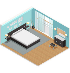 Bedroom Interior Isometric View Poster vector image