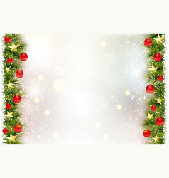 festive background with fir border red christmas vector image