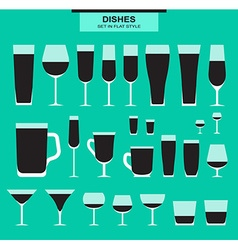 Set of different isolated glasses Monochrome vector image