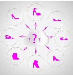 Shoes quest Selection of womens shoes vector image