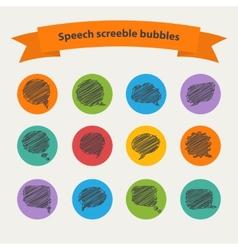 Speech black doodle scrabble bubbles vector image vector image