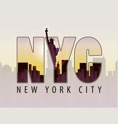 the letters nyc on the landscape of new york vector image vector image