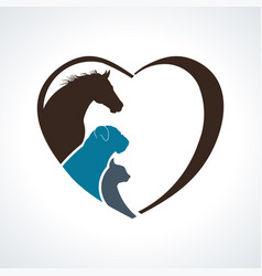 veterinarian heart animal love horsedog and cat vector image
