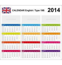Calendar 2014 English Type 19B vector image