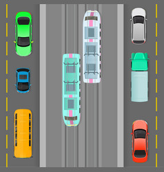 city traffic on top view flat concept vector image vector image