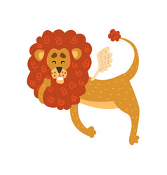 cute funny lion cartoon character with wings vector image