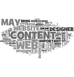 web design why is content so important text word vector image vector image