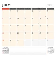 calendar planner for july 2018 design template vector image vector image
